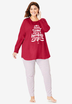 2-Piece PJ Legging Set by Dreams & Co.®, CLASSIC RED HOLIDAY SPIRIT