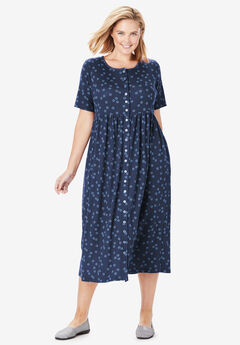 Dot Button-Front Essential Dress, NAVY DOTTED CIRCLES