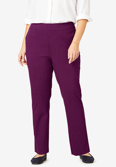 Micro Twill Straight Leg Pull-On Pant, DARK BERRY