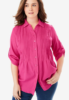 Pintucked Button Down Gauze Shirt, RASPBERRY SORBET