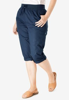 Convertible Length Cargo Capri Pant, NAVY