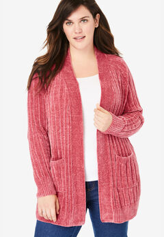 Open Front Chenille Cardi,