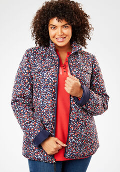 Print-Trimmed Quilted Jacket, NAVY MINI FLORAL