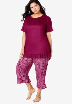 Cool Dreams Ruffled Capri Pajama Set, POMEGRANATE PAISLEY