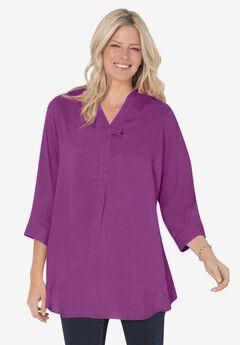 Three-Quarter Sleeve Tab-Front Tunic,