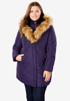 Fur-Lined Hooded Faux Down Coat,