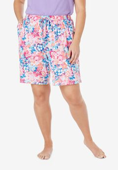 Print Pajama Shorts by Dreams & Co.®, PINK HIBISCUS