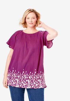 Cotton Gauze Smocked Neck Tunic,