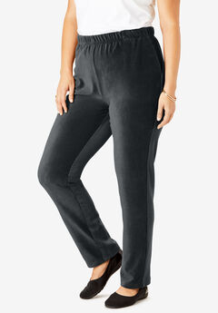 Ribbed Straight Leg Pant, BLACK