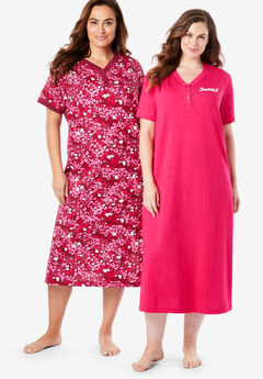 2-Pack Long Henley Sleepshirt By Dreams & Co.®, RADIANT PINK SNOOZE