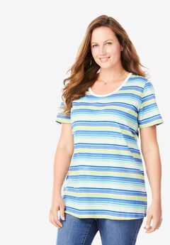 Perfect Printed Scoop Neck Tee, FRENCH BLUE MULTI STRIPE