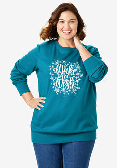Fleece Holiday Sweatshirt, DEEP TEAL MAKE A WISH