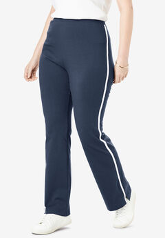 Stretch Cotton Side-Stripe Bootcut Yoga Pant, NAVY WHITE