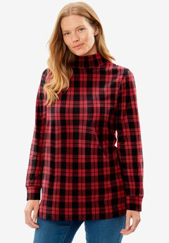 Perfect Printed Long-Sleeve Mock-Neck Tee, CLASSIC RED PLAID