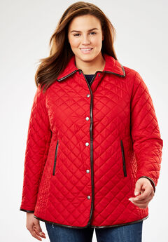 Quilted Snap-Front Jacket, STRAWBERRY RED
