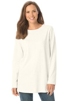 Perfect Long-Sleeve Crewneck Tee, WHITE