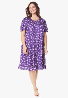Short Floral Print Cotton Gown by Dreams & Co.®, PLUM BURST BOUQUET