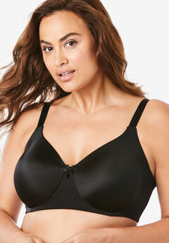 Back-Smoothing Wireless T-Shirt Bra by Comfort Choice®, BLACK