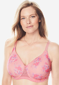 Full Coverage Lace-Trim Underwire T-Shirt Bra by Comfort Choice®, ROSE QUARTZ BOUQUET