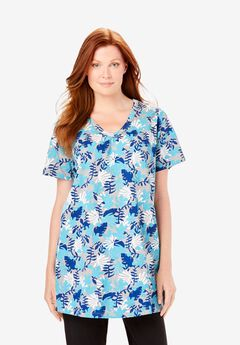 Perfect Printed Shirred V-Neck Tunic, CARIBBEAN BLUE GRAPHIC TROPICANA