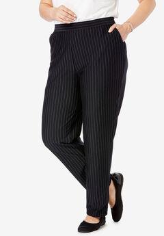 Straight Leg Ponte Knit Pant, PINSTRIPE