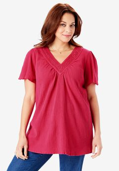 Crochet V-Neck Tunic,