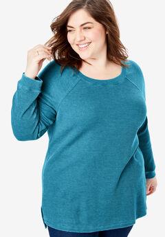 Raglan Washed Thermal Sweatshirt, DEEP TEAL