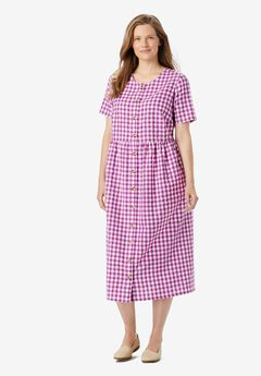 Short-Sleeve Seersucker Dress,