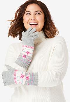 Knit Gloves, HEATHER GREY FLOWER FAIR ISLE