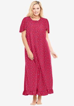 Long Floral Print Cotton Gown,