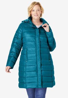 Long Packable Puffer Jacket, DEEP TEAL