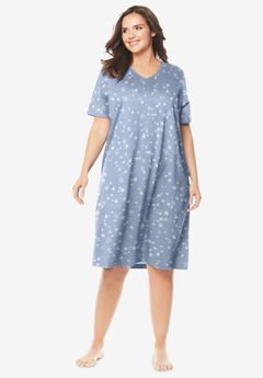 Print Sleepshirt by Dreams & Co.®, HEATHER GREY STARS