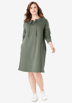 Lace-Up Front Fleece Dress, VINTAGE MOSS