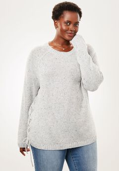 Side Lace-Up Pullover Sweater,