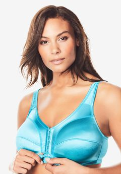 Front-Close Satin Wireless Bra by Comfort Choice®,