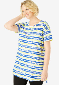 Longer Length Cuffed Crewneck Tunic, BLUE PAINTED STRIPE