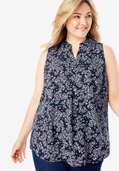 Sleeveless Tab-Front Shirt, NAVY FLOWING DITSY