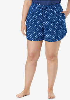 Print Pajama Shorts by Dreams & Co.®, EVENING BLUE HEARTS