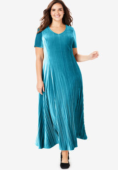Pleated Crinkle Velour Dress, DEEP TEAL