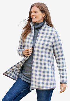 Zip-Front Microfleece Jacket, PEARL GREY MINI BUFFALO PLAID