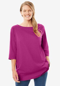 Perfect Three-Quarter Sleeve Boat-Neck Tee,