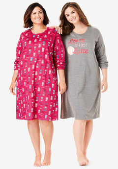 2-Pack Long-Sleeve Sleepshirts by Dreams & Co.®, RADIANT PINK LATTE