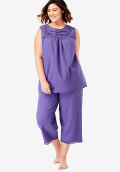 Swiss Dot Capri PJ Set by Dreams & Co.®, PETAL PURPLE