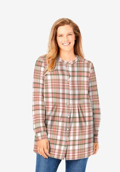 Perfect Pintucked Shirt, TEA ROSE PLAID