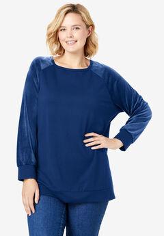 Raglan Velour Sleeve Sweatshirt, EVENING BLUE