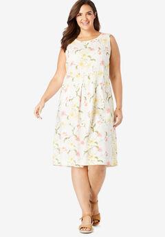 Pocketed Sleeveless Linen Dress,