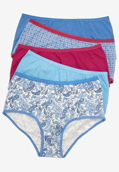 5-Pack Stretch Cotton Full-Cut Brief by Comfort Choice®, BLUE PLAID PAISLEY PACK