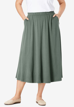 7-Day Knit A-Line Skirt, PINE