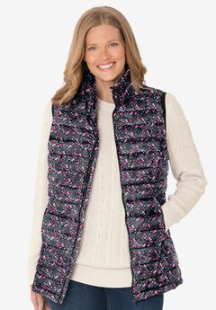 Packable Puffer Vest, BLACK FUN DITSY