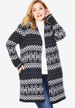 Open Front Fair Isle Knit Cardigan, BLACK PRETTY FAIR ISLE